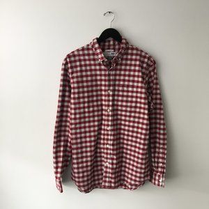 Old Navy The Oxford Shirt Checkered Button Up Red